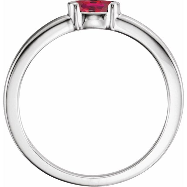 Sterling Silver Chatham® Created Ruby Oval Stackable Family Ring