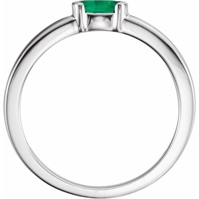 Sterling Silver Lab-Grown Emerald Oval Stackable Family Ring