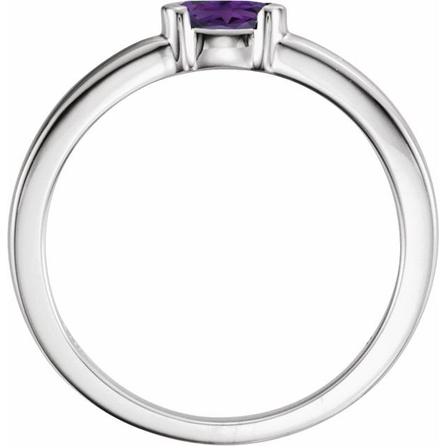 Sterling Silver Amethyst Oval Stackable Family Ring