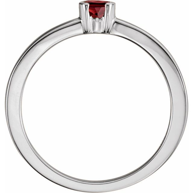 Sterling Silver Mozambique Garnet Family Stackable Ring