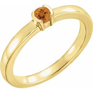 14K Yellow Citrine Family Stackable Ring