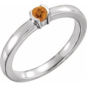 Sterling Silver Citrine Family Stackable Ring