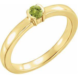 14K Yellow Peridot Family Stackable Ring