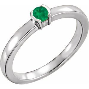 14K White Emerald Family Stackable Ring