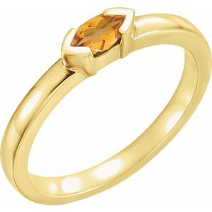 14K Yellow Citrine Marquise Stackable Family Ring