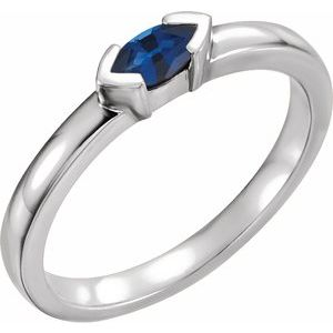 14K White Blue Sapphire Marquise Stackable Family Ring