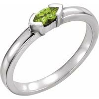 Sterling Silver Peridot Marquise Stackable Family Ring
