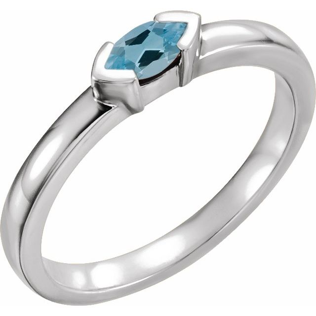 14K White Aquamarine Marquise Stackable Family Ring