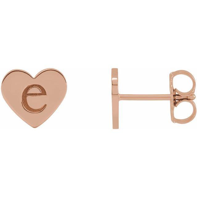 14K Rose Engravable Heart Earrings