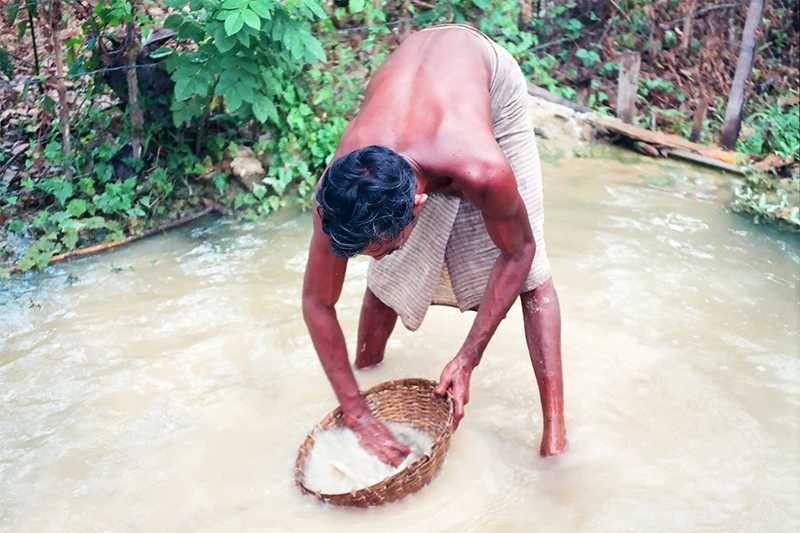 Gemstone miner panning for stones in river