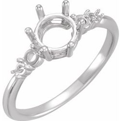 124129 / Engagement Ring / Unset / Sterling Silver / Round / 5.7 Mm / Polished / Engagement Ring Mounting