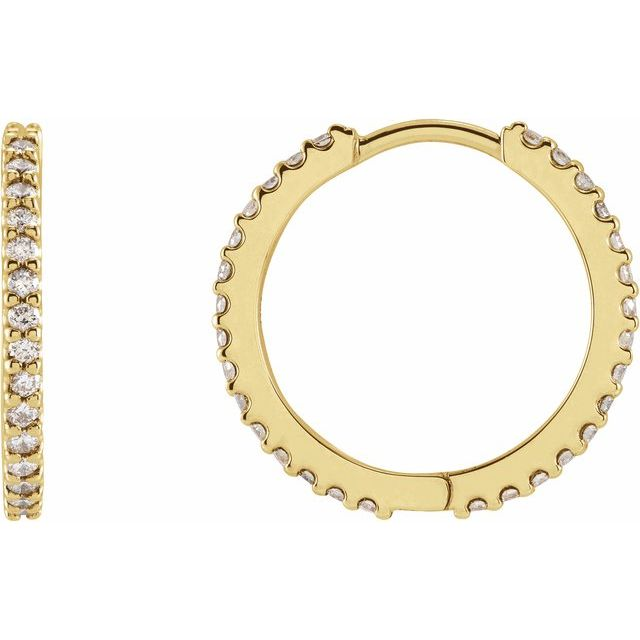 14K Yellow 5/8 CTW Diamond 18 mm Huggie Earrings