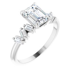 124601 / Ring / Unset / Emerald / 7.5 X 5.5 Mm / Sterling Silver / Polished / Claw-Prong Engagement Ring Mounting