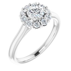 124568 / Engagement Ring / Neosadený / Sterling Silver / round / 5.2 Mm / Polished / Halo-Style Engagement Ring Mounting