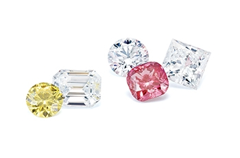 Pink, yellow, and white Lab-Grown diamonds