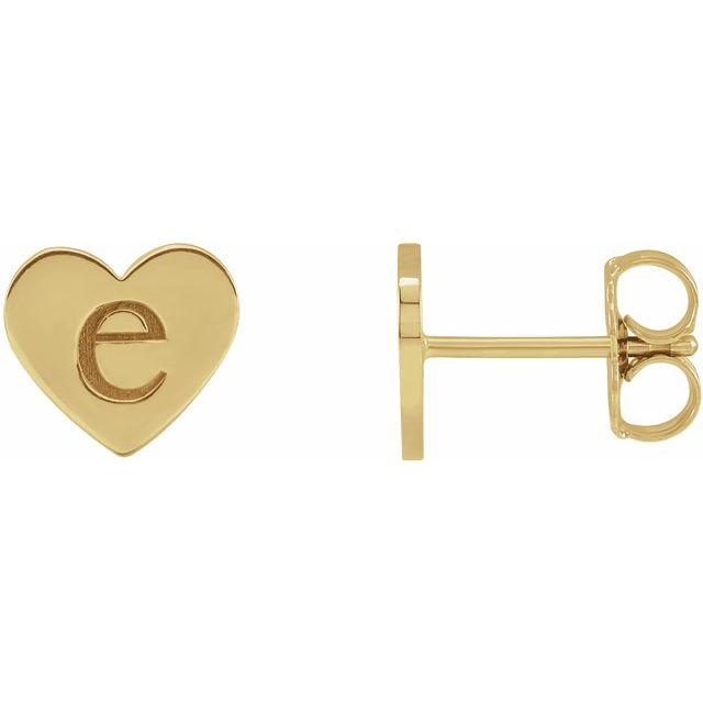 14K Yellow Engravable Heart Earrings