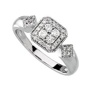 14K White 1/3 CTW Diamond Cluster Ring Size 7