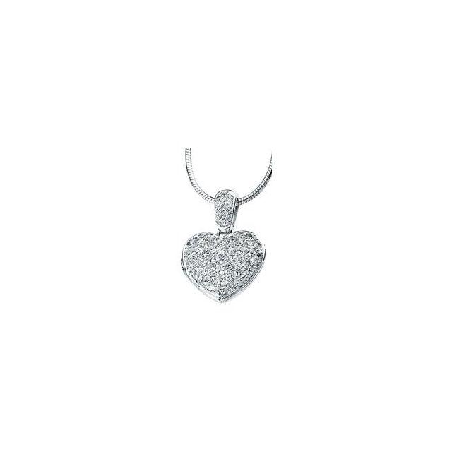 Sterling Silver Cubic Zirconia Heart Locket 18