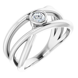 Bezel-Set Criss-Cross Ring