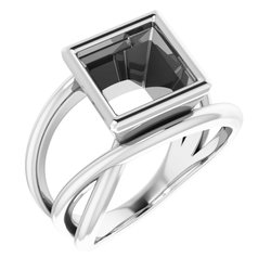 Bezel-Set Criss-Cross Ring