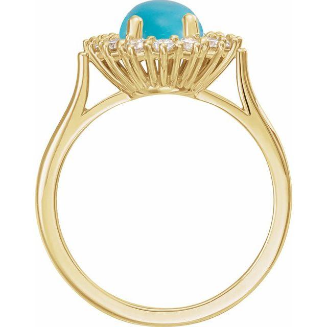 14K Yellow Turquoise & 3/8 CTW Diamond Ring