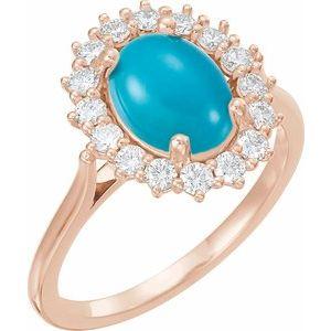 14K Rose Turquoise & 3/8 CTW Diamond Ring