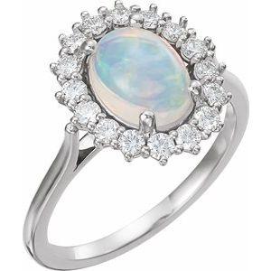 14K White Ethiopian Opal & 1/2 CTW Diamond Ring