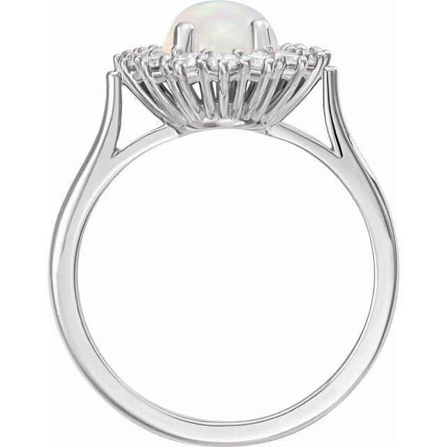 14K White Ethiopian Opal & 3/8 CTW Diamond Ring