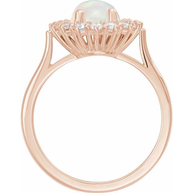 14K Rose Ethiopian Opal & 3/8 CTW Diamond Ring