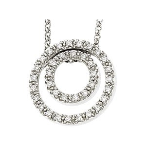 "14K White 1/4 CTW Diamond Concentric Circle 18"" Necklace"