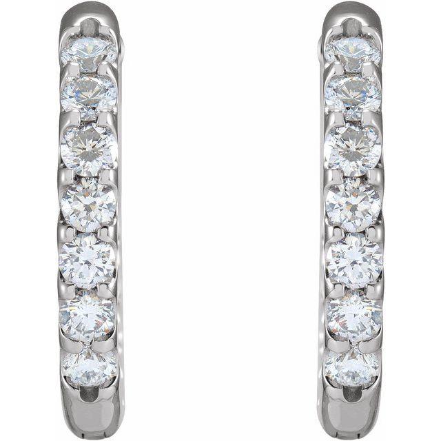 14K White 1 1/8 CTW Diamond Inside-Outside Hinged 18.5 mm Hoop Earrings