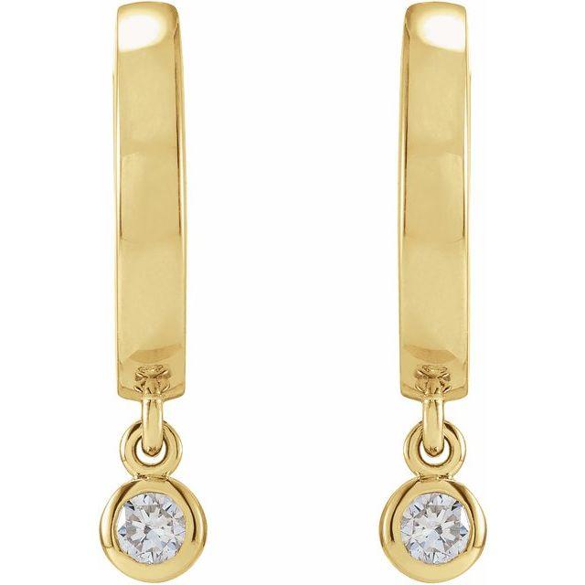 14K Yellow 1/5 CTW Diamond Hinged Hoop Earrings