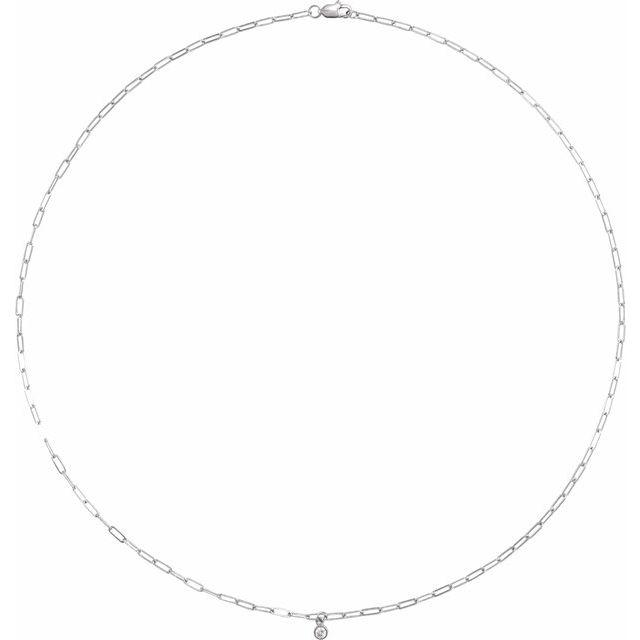 14K White 1/10 CT Natural Diamond Micro Bezel-Set 18