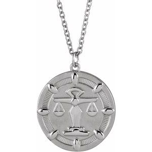 """14K White Scales of Justice 16-18"""" Necklace"""