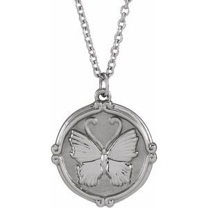 "Sterling Silver Butterfly Medallion 16-18"" Necklace"
