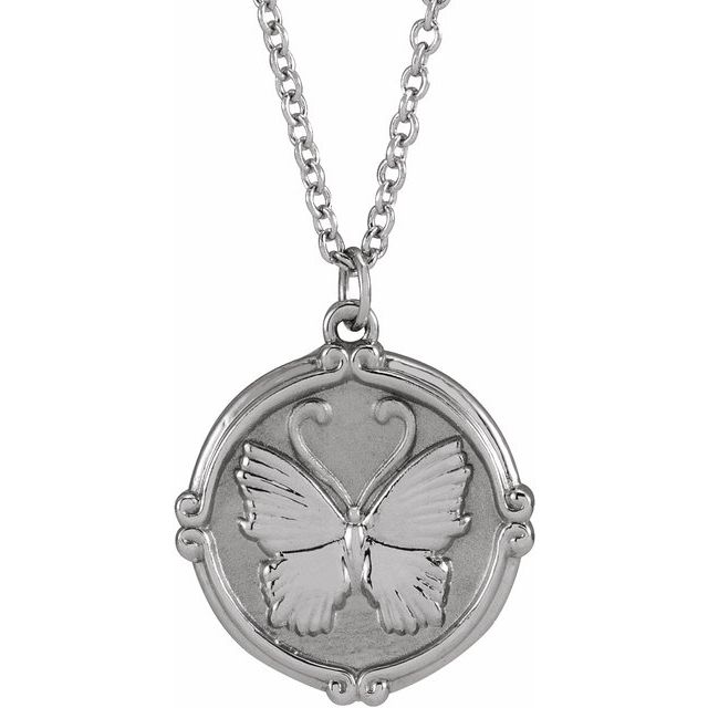 Sterling Silver Butterfly Medallion 16-18