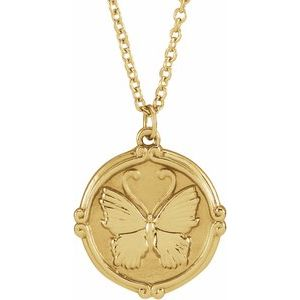 "14K Yellow Butterfly Medallion 16-18"" Necklace"