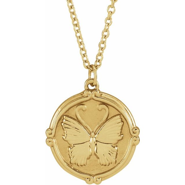 14K Yellow Butterfly Medallion 16-18