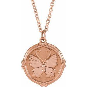 """14K Rose Butterfly Medallion 16-18"""" Necklace"""