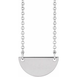 "Sterling Silver Engravable Half Moon 16-18"" Necklace"