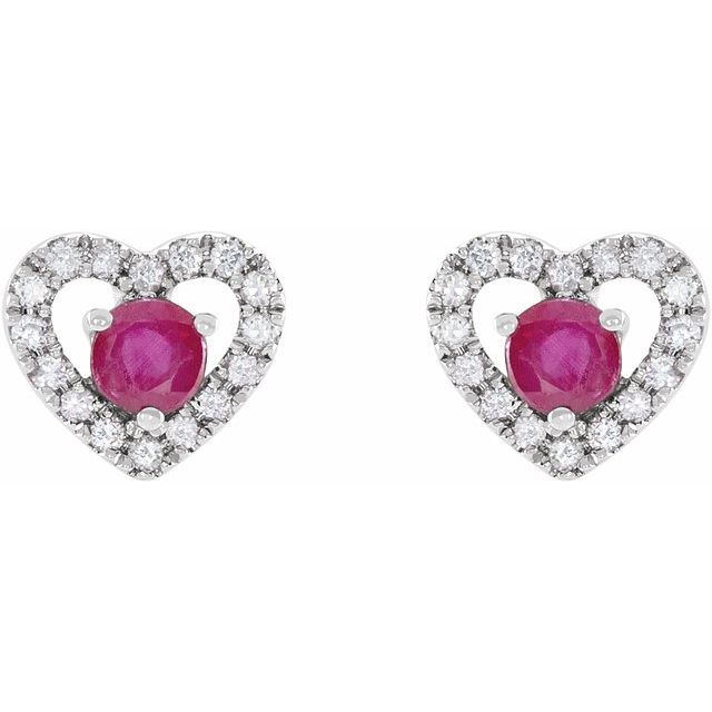 14K White Ruby & 1/10 CTW Diamond Heart Earrings