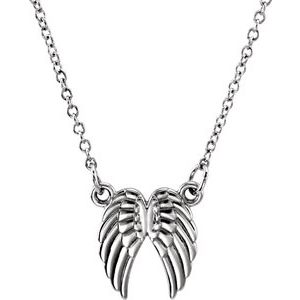 "14K White Tiny Posh® Angel Wings 16-18"" Necklace"