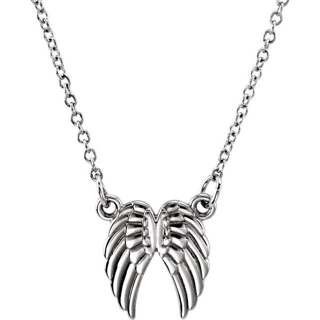14K White Tiny Posh® Angel Wings 16-18
