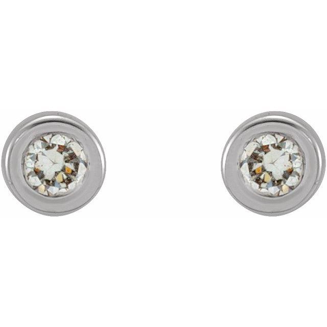 14K White .02 CTW Natural Diamond Micro Bezel-Set Earrings