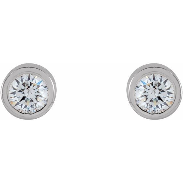 14K White .04 CTW Natural Diamond Micro Bezel-Set Earrings