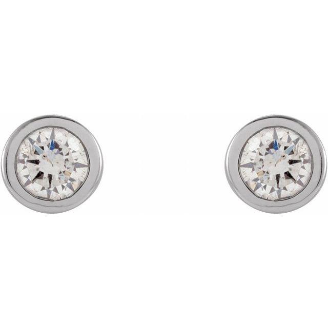 14K White .06 CTW Natural Diamond Micro Bezel-Set Earrings