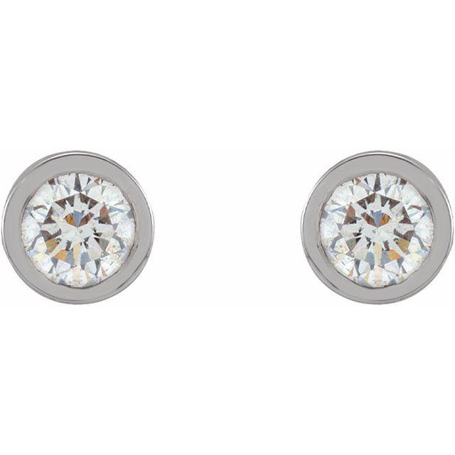 14K White 1/10 CTW Natural Diamond Micro Bezel-Set Earrings