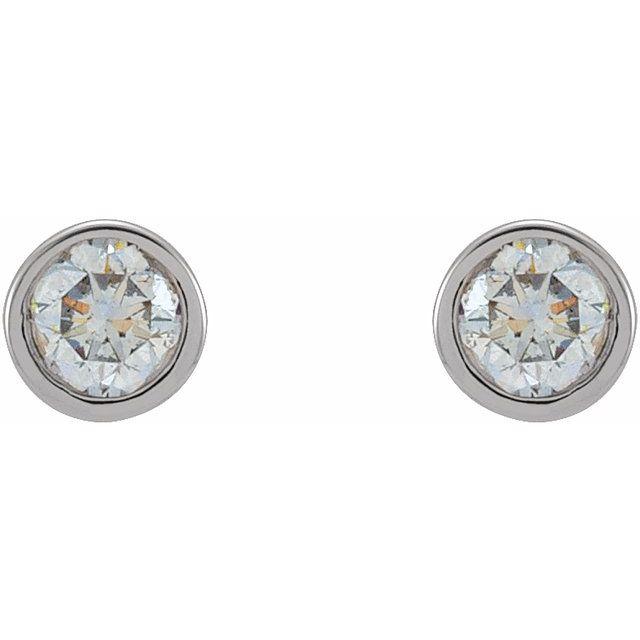 14K White 1/8 CTW Natural Diamond Micro Bezel-Set Earrings