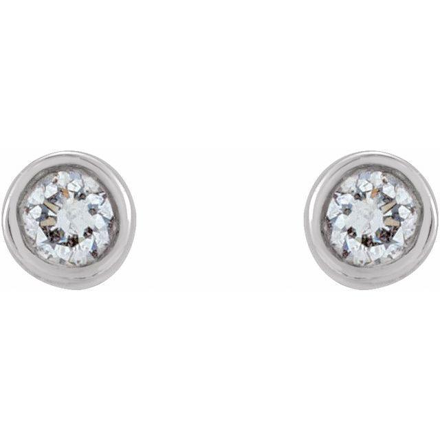 14K White .03 CTW Natural Diamond Micro Bezel-Set Earrings