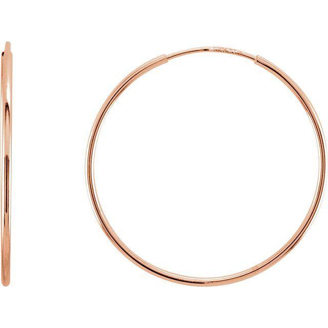 14K Rose 24 mm Endless Hoop Earrings